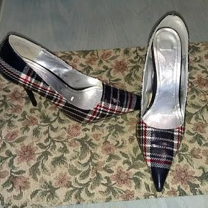 "Dollhouse 6.5 plaid patent leather 4"" heel"